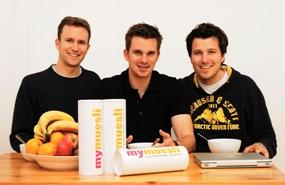 Die mymuesli-Gründer Philipp, Hubertus und Max (rechts im Bild)