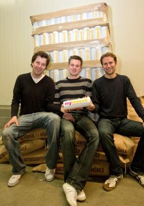 Die mymuesli-Gründer Philipp, Hubertus und Max (links im Bild)
