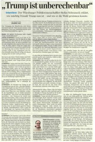 Interview Stefan Schwaneck Präsidentschaftswahl 2016 Donald Trump